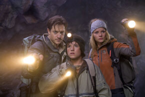 "Brendan Fraser, Josh Hutcherson and Anita Briem, stars of ""Journey to the Center of the Earth"""