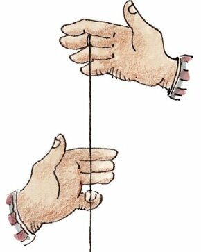 Pull the string toward you with the first three fingers of your free hand.
