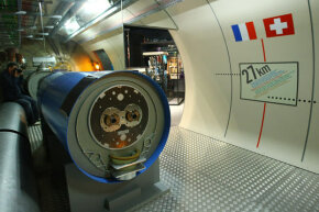 A model of the Large Hadron Collider (LHC) tunnel as seen in the CERN (European Organization For Nuclear Research) visitors' center in Geneva-Meyrin, Switzerland. The LHC is the world's biggest and most powerful particle accelerator.