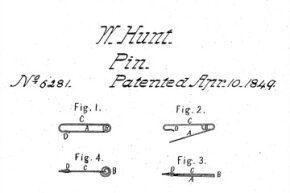 Some of the drawings from Walter Hunt's original patent for the first safety pin