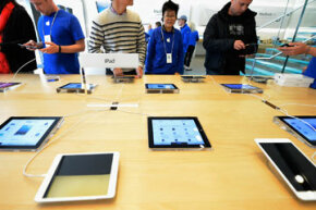 Numerous iPad Minis on display in a Los Angeles Apple store in November 2012