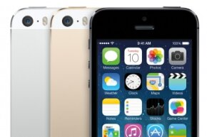 "The iPhone 5s is available in gold, silver or ""space gray."""