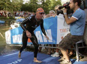 German Christof Wandratsch leaves the water and heads into the transition area.