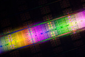 The Intel Xeon processor E7 family die, which has up to 10 cores and 2.6 billion transistors.
