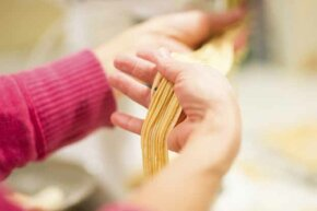 Pasta from scratch is very easy to make.