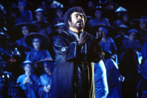 "Luciano Pavarotti, one of the world's premier opera singers, performs in ""Turandot"" at the San Francisco Opera House in 1977."
