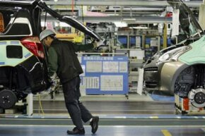 The assembly process at Toyota's Takaoka plant in Japan