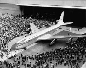 The revolutionary Boeing 367-80 rolled out to an appreciative crowd on May 14, 1954. The 367-80 was used by Boeing as a test aircraft for many years, paving the way for the 707 airliner and the KC-135 tanker. See more pictures of flight.