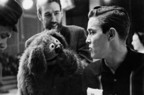 """Rowlf the Dog, pictured here on the set of """"The Jimmy Dean Show"""" with Jimmy Dean and Jim Henson, was the first Muppet to make it big on national TV."""
