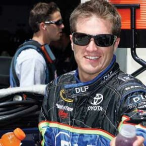 JJ Yeley at the NASCAR Sprint Cup Series Allstate 400 at the Brickyard at Indianapolis Speedway, Indianapolis, IN, July 2008.