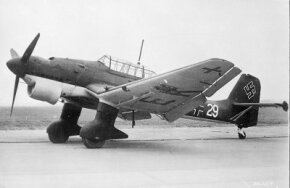 The first Junkers Ju 87 Stukas flew in 1935. Although the Stuka became the most famous as a dive bomber, it also achieved considerable success as a tank buster on the Eastern front. See more flight pictures.