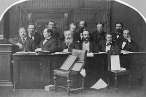 A jury panel from England decided whether Arthur Orton was really the missing heir, Sir Roger Tichborne, in 1873.