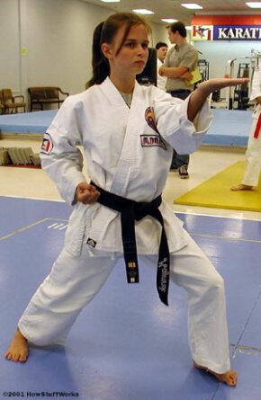 Mindy Mayernik, a third-degree black belt karateka at Karate International of Raleigh, assumes a defensive stance.
