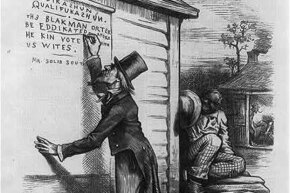 "This cartoon showing Uncle Sam writing on wall, ""Eddikashun qualifukashun. The Black man orter be eddikated afore he kin vote with US Wites, signed Mr. Solid South"", lampooning the South's literacy tests."