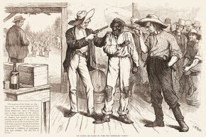 "This 1876 cartoon shows two white men pointing guns at a black voter. The text reads: ""Of course he wants to vote the Democratic ticket! Democratic 'Reformer': You're as free as the air, ain't you? Say you are, or I'll blow your black head off!"""