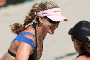 U.S. women's beach volleyball gold medalist Kerri Walsh piqued the public's curiosity while wearing kinesiology tape during the 2008 Beijing Olympics.