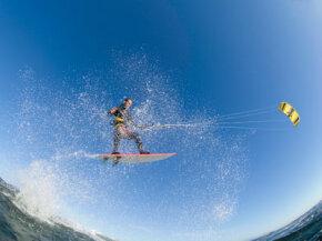 Experienced kitesurfers can soar through the air.