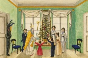 Krampus shows up for an 1820 Viennese Christmas party, as commemorated in the Baumann family album.