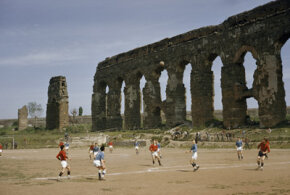 Italy Image Gallery A soccer game unfolds at the foot of an ancient aqueduct in Rome. Los Angeles used the water system of ancient Rome as a model for its own infrastructure. See more pictures of Italy.