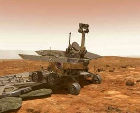 An artist's rendering of one of the two Mars Exploration Rovers, Spirit and Opportunity. Both were easier to land than human-accessible landing vehicles because they're so lightweight.