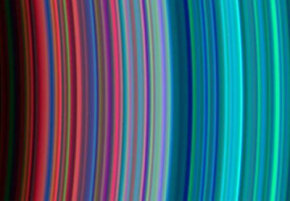 """An ultraviolet imaging spectrograph took this picture of Saturn's C rings (left) and B rings (right). The red bands indicate """"dirty"""" particles while cleaner ice particles are shown as turquoise in the outer parts of the rings."""