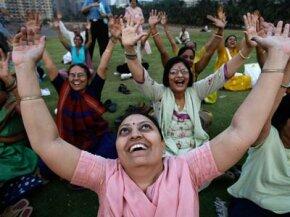 Devotees of laughter yoga in Mumbai