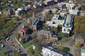 An aerial view of Harvard Law School in Cambridge, Mass.