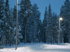 This snowy street is home to some of the first LED street lighting in Finland.