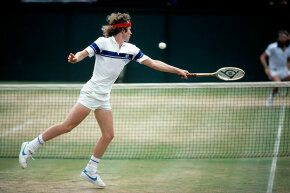 John McEnroe stretches to return volley to Bjorn Borg in the 1981 Wimbledon men's single's final.