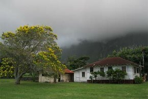 An eerie shot of one of the buildings at the Kalaupapa leprosarium in Hawaii. Today, the site is a national historical park.