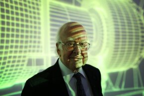 Professor Peter Higgs visits the London Science Museum's 'Collider' exhibition on Nov. 12, 2013. Think it's safe to say that Higgs and his colleagues didn't quite foresee the Higgs boson hoopla.