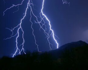 The first strike of lightning is generally followed by a series of secondary strikes, all within a split second.