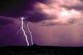 Multiple cloud-to-ground and cloud-to-cloud lightning strikes