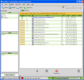 LimeWire's file-sharing service lets users exchange software and music; users must sign an agreement saying they'll respect copyright laws.