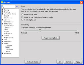 LimeWire's users can select their settings and can share files they select.