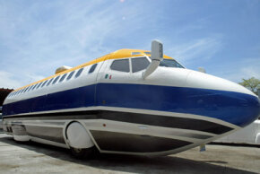 A Mexican limousine company converted this 727 into a luxurious stretch limousine.