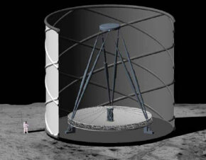 A NASA rendering of a lunar liquid mirror telescope