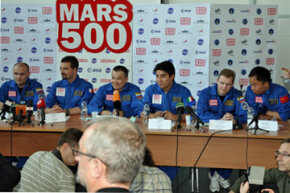 The all-male six man crew of the 520-day Mars500 mission gives a press conference in June 2010 shortly before they began the grueling simulation of a flight to the red planet.