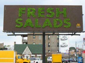 You can bet that a great deal of green went into this living billboard -- and we're not just talking about the lettuce.