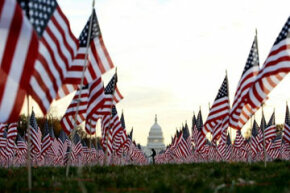 "American flags fly at the National Mall in Washington, D.C. in silent protest against the ""Don't Ask Don't Tell"" policy prohibiting openly gay soldiers in the U.S. military. The protest was organized in 2007 by several gay rights lobbying groups."