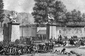 The sacking of the Tuileries Palace at the Louvre during the revolution on July 12, 1789.