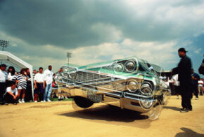 A Chevrolet lowrider competes in a dance competition in Los Angeles.