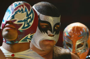 These colorful masks are typical of lucha libre.