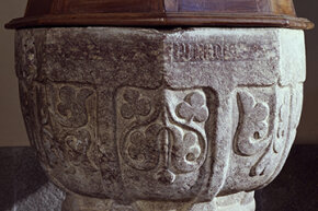 This 16th-century baptismal font features three-leaf clovers, which Christians use to symbolize the trinity of the Father, Son and Holy Ghost.