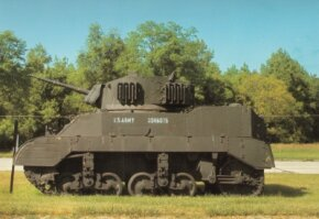 An M-5 Light Tank, shown here in 1942, was armed with a 37mm main gun and three Browning machine guns.