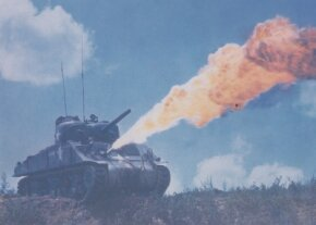 The M-4E4 flamethrower tank -- the flamethrower was a retrofit kit that replaced the hull machine gun.