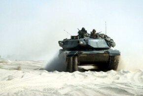An M1A1 Abrams main battle tank in Saudi Arabia during Operation Desert Storm.