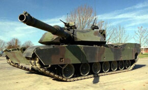 The M1's main weapon is a 120-mm smoothbore cannon.