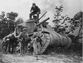 A tank crew training for combat in World War II