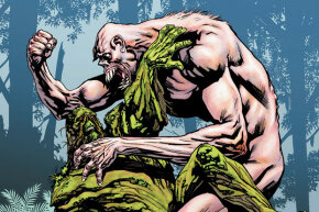 A deformed, resurrected Arcane wrestles Swamp Thing.
